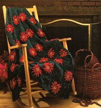 Y575 Crochet PATTERN ONLY Poinsettias Granny Square Afghan Pattern - $9.50