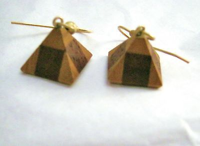 "Pyramid wood inlay dangle hook earrings 1/2""  small Handmade"
