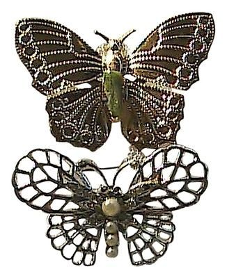 Gold Tone & Silver Tone Butterfly Pin / Brooch