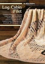 Y584 Filet Crochet PATTERN ONLY Log Cabin Filet Popcorn Afghan Pattern - $7.50