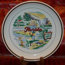 Full Color Florida Collectible Plate Gold Rim - $5.00