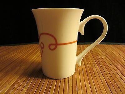 2014 Starbucks White w/Orange Pin Stripe Design Coffee Mug Tea Cup 11 oz