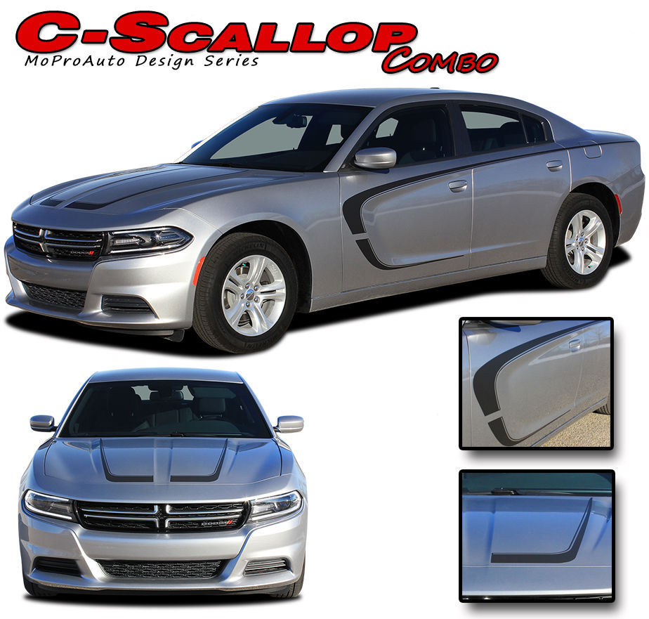C-SCALLOP 2015 Dodge Charger Pro 3M Vinyl Graphics Hood Side Decals Stripes B3