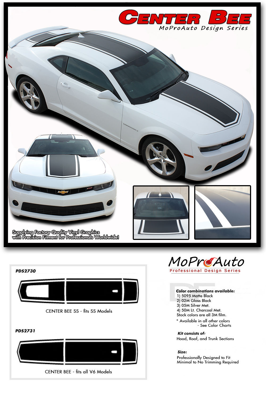 CENTER BEE 2015 Chevy Camaro Rally Hood Stripes Decals Graphics 3M Pro Vinyl LT