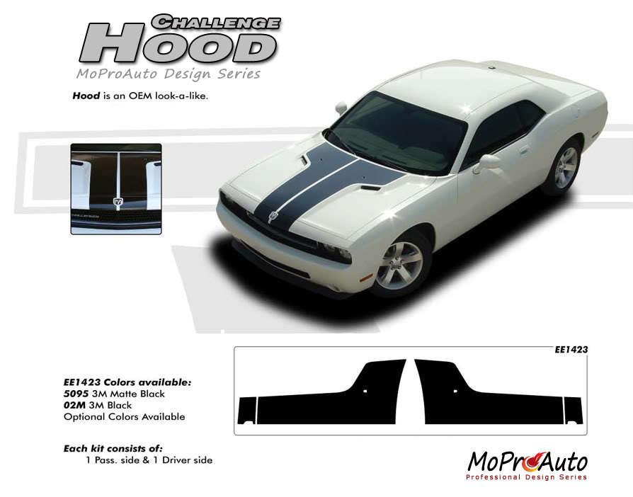 "Challenger ""OE Style"" SPLIT HOOD Graphic Decals Stripes 2014 3M Pro Grade RF7"