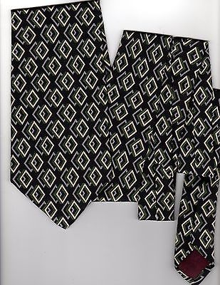 Vtg 1970s Oleg Cassini Silk Tie Mod Diamond Necktie Black Grey Green Ivory USA