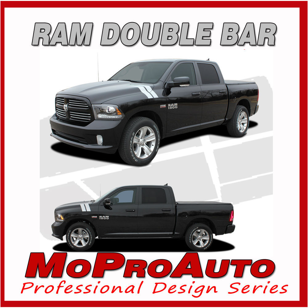 Dodge 2015 Ram Hood Hash Marks Vinyl Graphics Decals - 3M Pro Vinyl Stripes D56