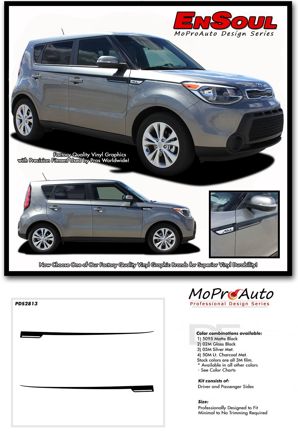 FITS 2015 KIA SOUL Ensoul 3M Pro Vinyl Graphics Stripes Decals Upper Body ATTD