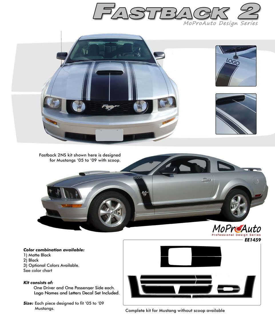 FASTBACK 2 BOSS Style Mustang GRAPHICS - 3M Pro Grade Stripes Decal 2005 040