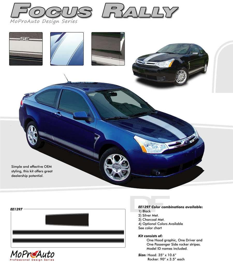 Ford Focus Vinyl GRAPHICS Rally Racing Stripes Decals 3M Pro 411 Vinyl