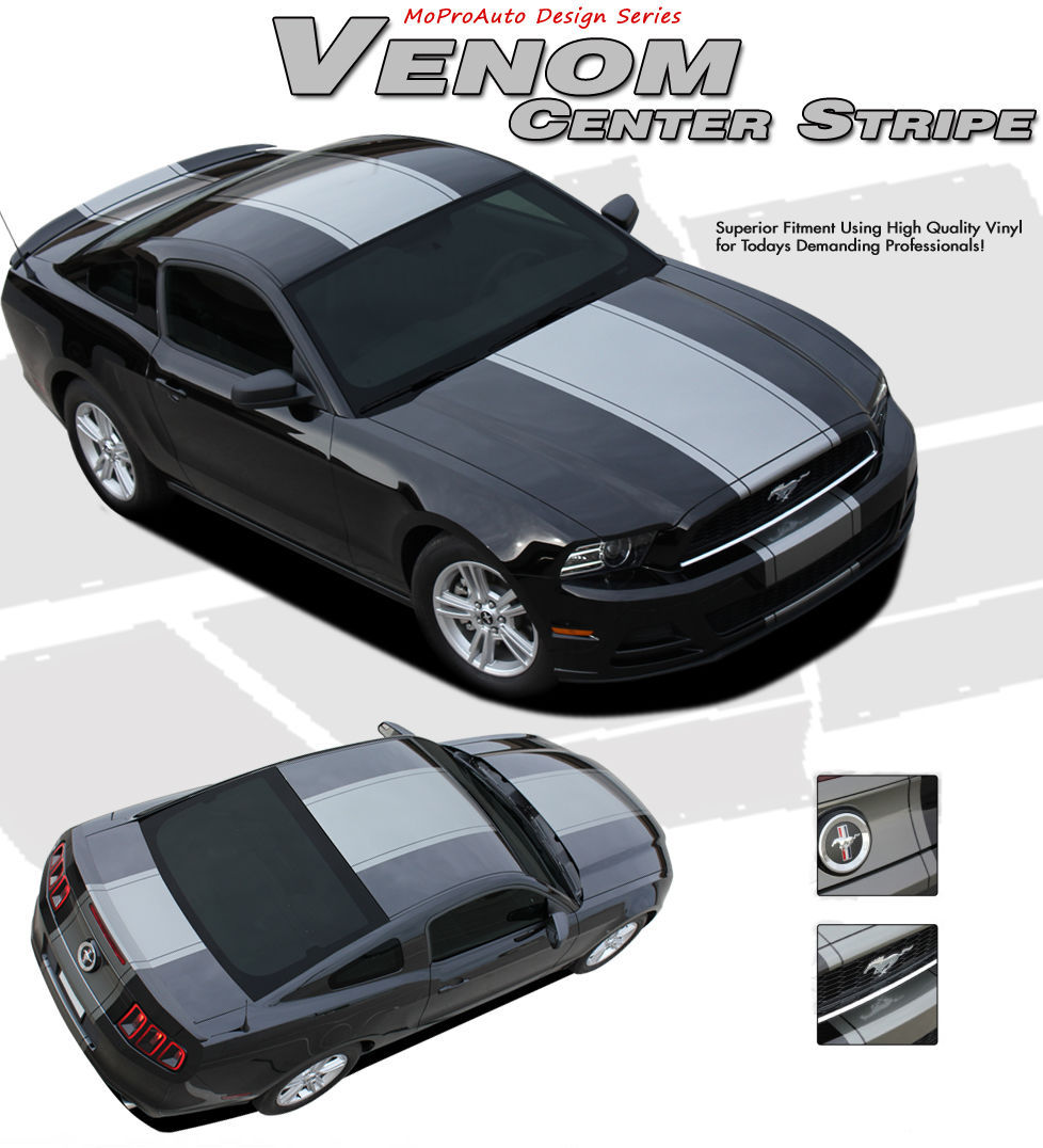 Ford Mustang Snake 2014 Wide CENTER HOOD Racing Stripes Decal Graphic 3M Vinyl