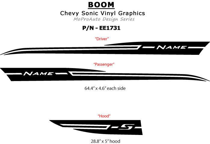 Pro Grade Vinyl - 2012 Chevy SONIC GRAPHICS BOOM - Stripes Decals  * 3M 070