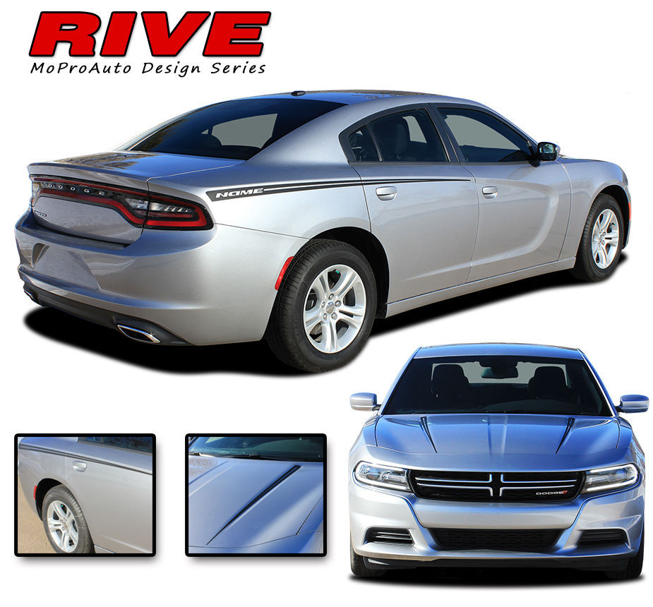 RIVE | 2015 Dodge Charger 3M Vinyl Graphics Hood Spear Side Decals Stripes D5