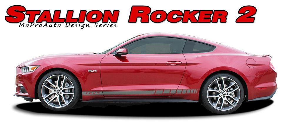 STALLION ROCKER 2 Lower Door Vinyl Stripe 3M Decals Graphic 2015 Ford Mustang X4