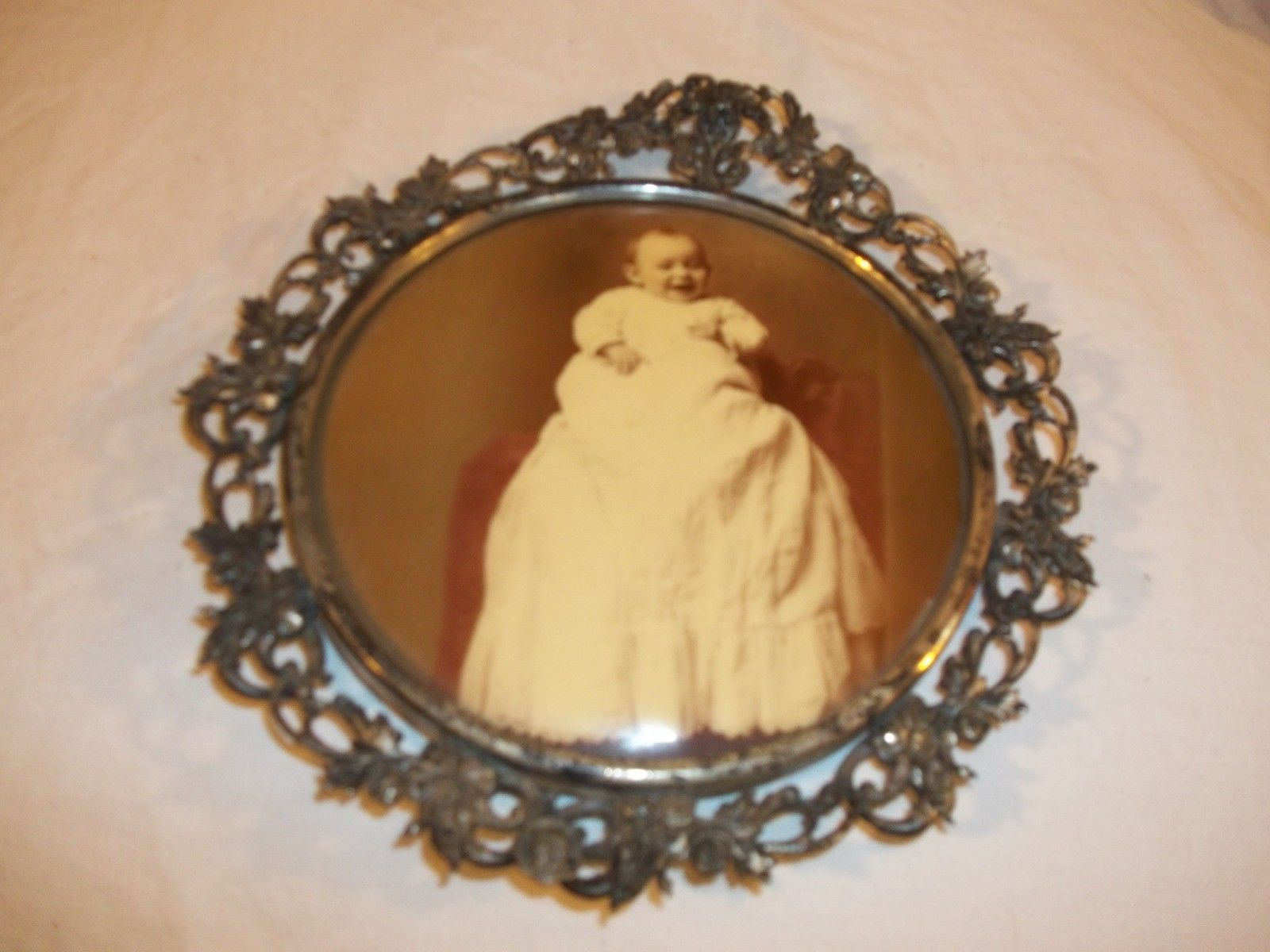 Vintage Tintype Baby Christening Photo in a metal Frame