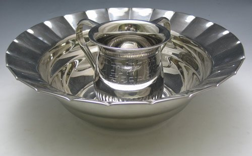 Stainless Steel Netilat Yadayim Wash Cup and Scalloped Bowl