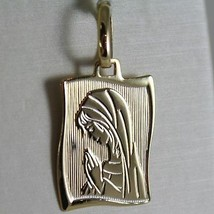 18K YELLOW GOLD SQUARE MEDAL VIRGIN MARY MADONNA ENGRAVABLE MADE IN ITALY image 2
