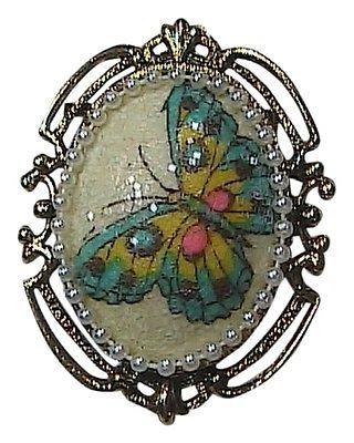 Gold Tone Faux Pearl Enamel Butterfly Brooch Pendant
