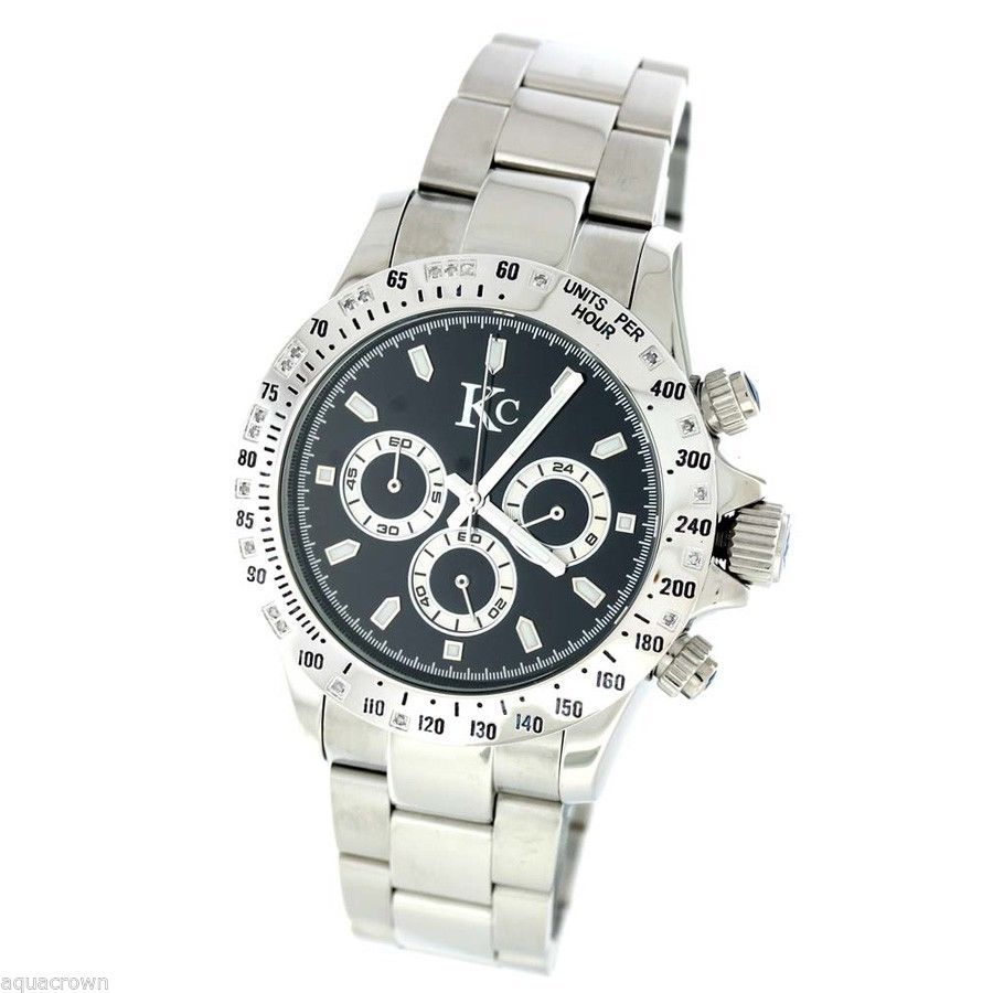 Techno Com Kc 0.20ct white Diamond 45mm  stainless steel band black face