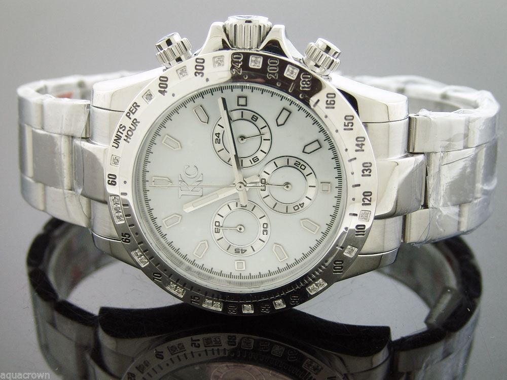 Techno Com Kc 0.20ct white Diamond 45mm  stainless steel band white face
