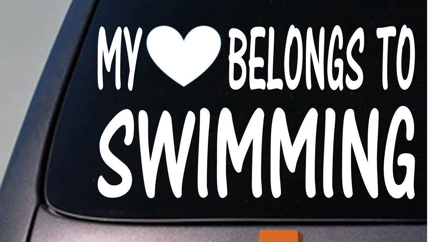 My heart belongs to swimming sticker decal *D862*