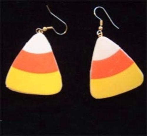 CANDY CORN EARRINGS -Halloween Fun Foam Charm Jewelry -Small: 1-inch