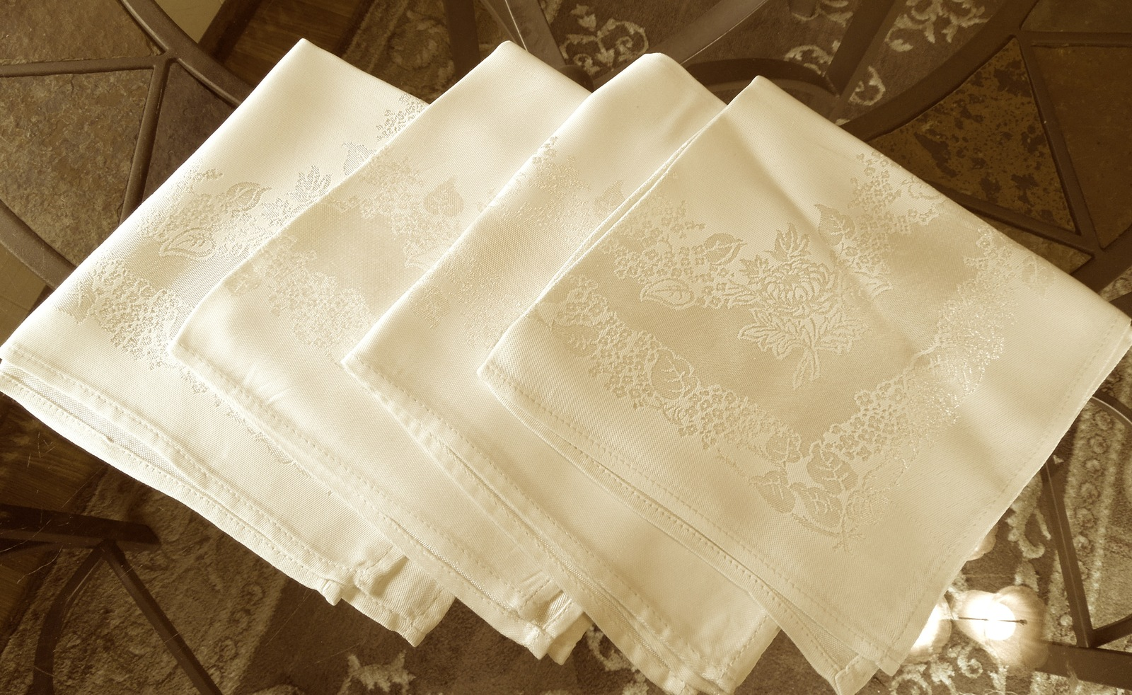 Apt bedroom dresser drawer 1   set of 4 appears to be satin damask table napkins  floral   ivory  approx 15 x 15 2 tiny tiny spots see photos   pd 5.00 for all 5 4 13 gar sale  89123