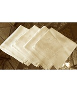 "Four Vintage Satin Linen Floral Damask Table Napkins IVORY Approx15"" Sq ... - $9.99"