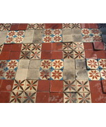 16 STONEWARE FLOOR TILES ANTIQUE RECLAIMED 1.9 ft2 BARCELONA MODERNIST ESCOFET