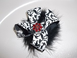 Newborn Baby Girl To Toddler Handmade Black And White Damask Bow Flower Headband - $8.00