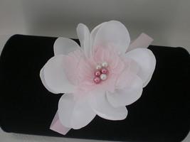 Baby Girl Skinny Pink Headband White Handmade Satin Flower With Lace &  Bling - $8.00