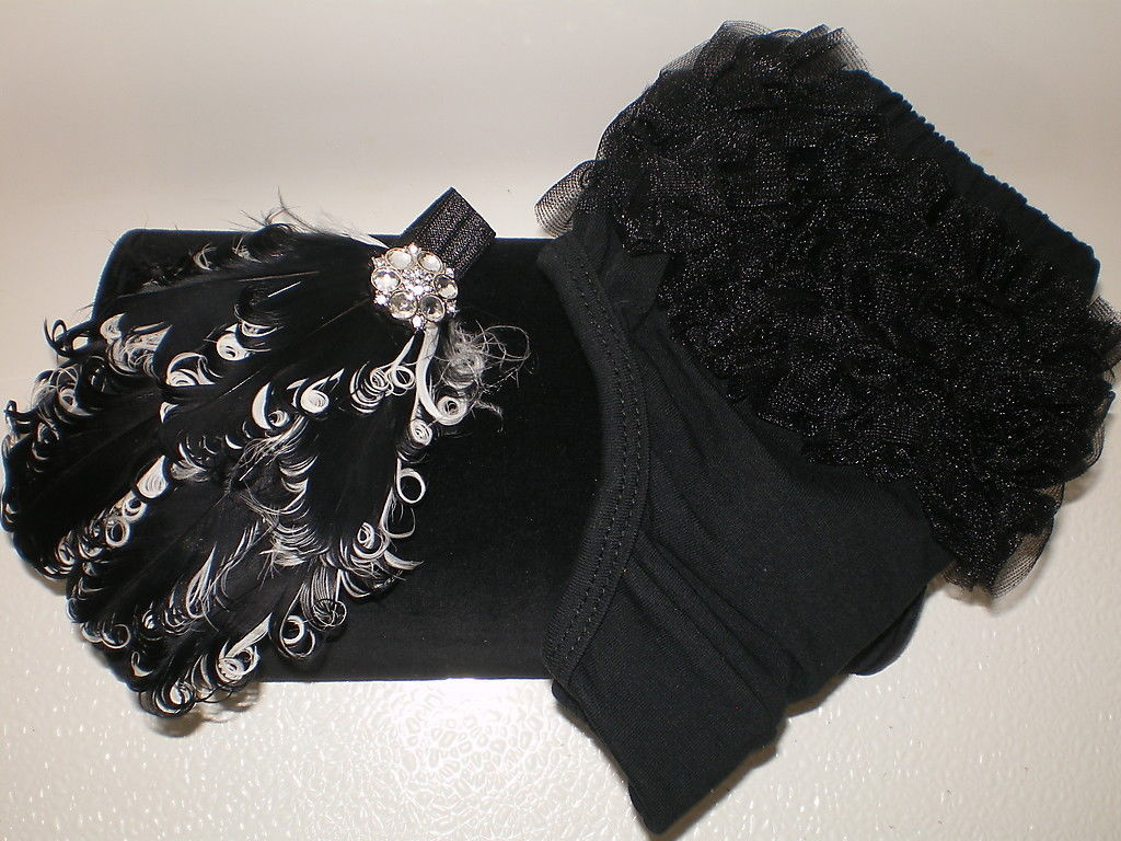 BABY GIRL SMALL BLACK RUFFLE BLOOMERS WITH FEATHER PAD HEADBAND & PEARLS