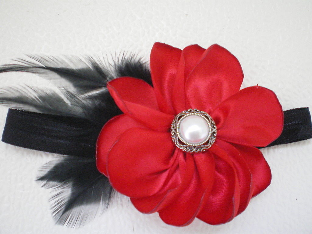 BABY GIRL SKINNY HEADBAND WITH RED FLOWER BLACK FEATHERS