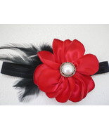BABY GIRL SKINNY HEADBAND WITH RED FLOWER BLACK FEATHERS - $9.00
