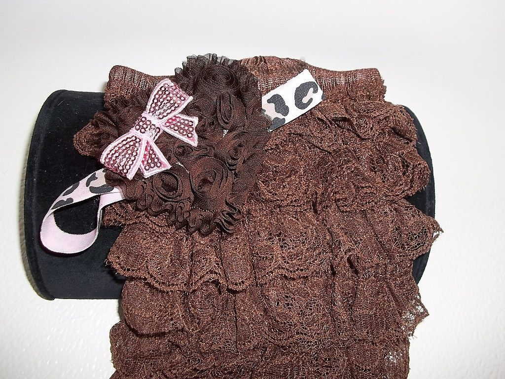 BABY GIRL SMALL BROWN  LACY  ROMPER PHOTO PROP WITH HEADBAND & PEARLS