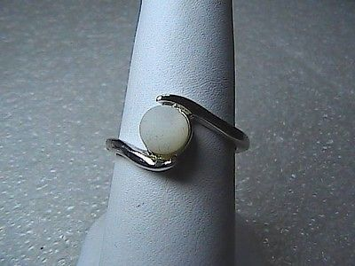 terling Silver White Pearl Cabochon Ring