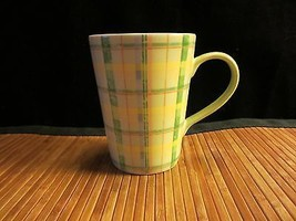 2006 Starbucks Green & Yellow Plaid Coffee Mug Tea Cup Tall 12 oz - $14.99