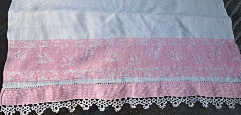 Vintage Textured Cotton Towel Pink Jacquard Edge Design and Crocheted Edge #4507