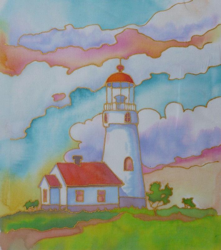 Akimova: LIGHT HOUSE, fabric painting, art on the wall or on the sofa