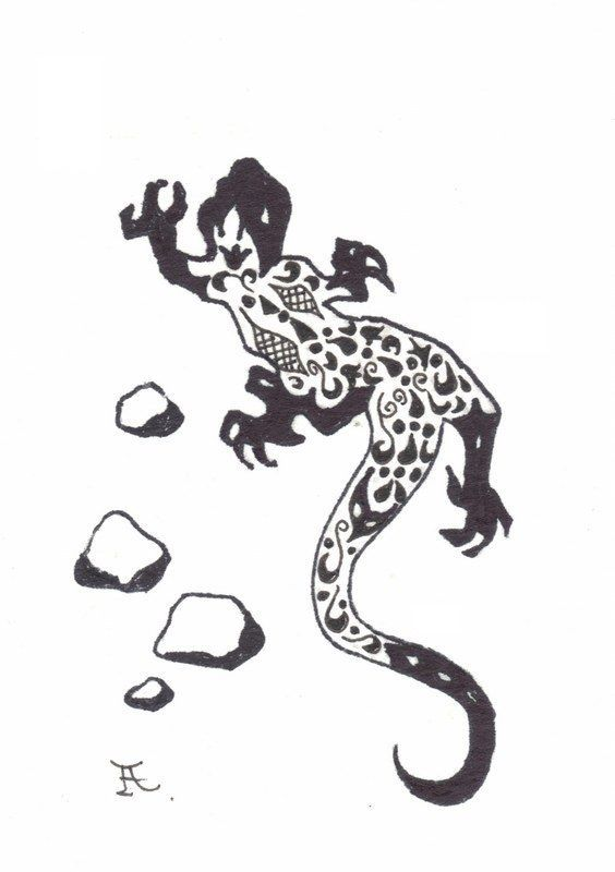 Akimova: LIZARD, black and white, ACEO, insect