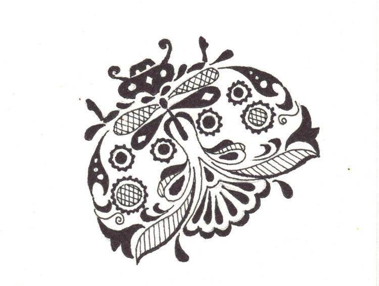 Akimova: LADYBUG, black and white, ACEO, insect