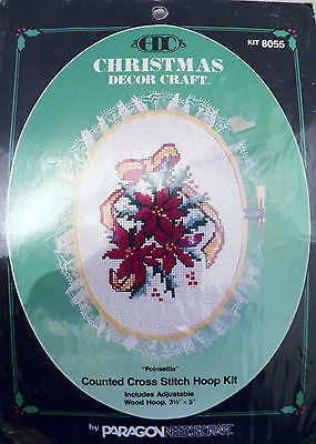 Paragon Christmas - Ornament - Counted Cross Stitch Hoop Kit 8055 Poinsettia