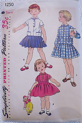 Vintage 1950's Simplicity 50's Two Piece Dress Top and Skirt Pattern 1250 Size 6