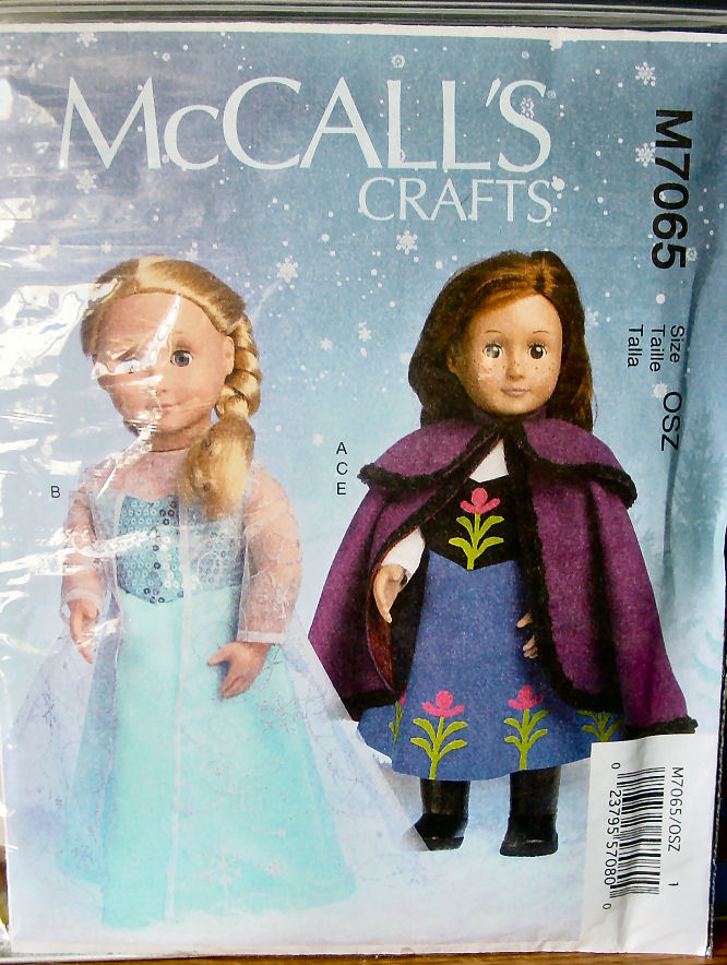 "Pattern 7065 Anna and Elsa Outfits From ""Frozen"" American Girl Size, 18"""