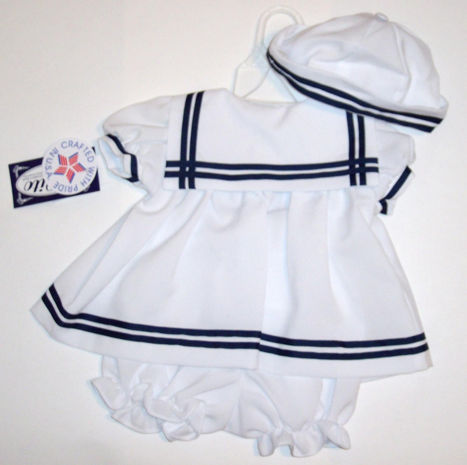 LITO Girls White Sailors Dress (3 PC) 12-18 M