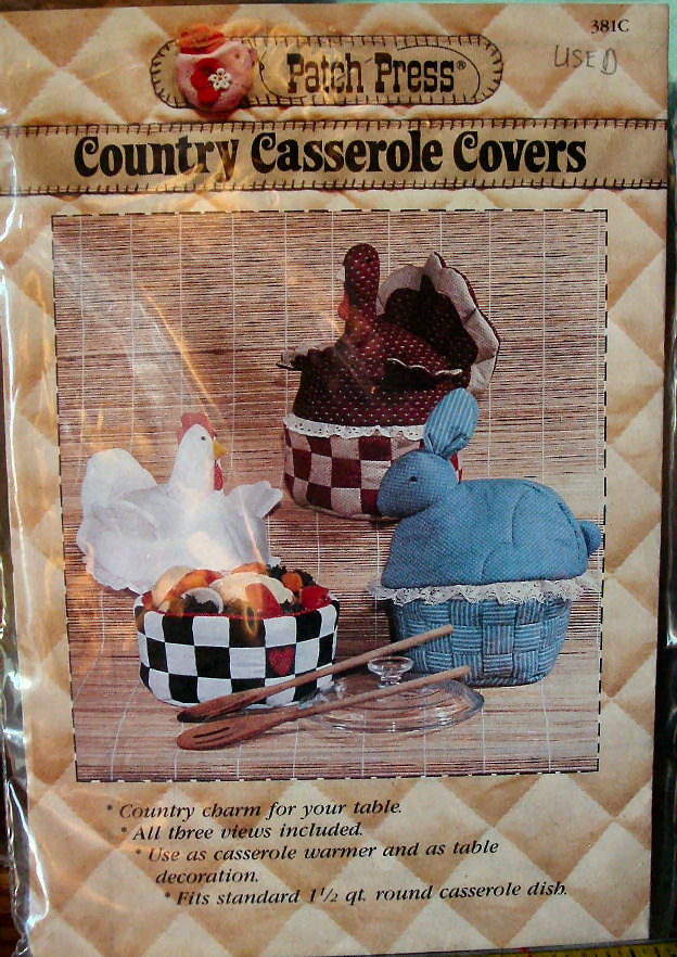 Pattern 381C (Used) Country Casserole Covers, Hen Bunny, Turkey