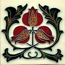 Decorative Ceramic tile 4.25 X 4.25 inches, Illustration Vintage art nou... - $7.00