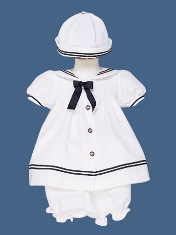 LITO Girls White Sailors Dress (3 PC) 18-24 M