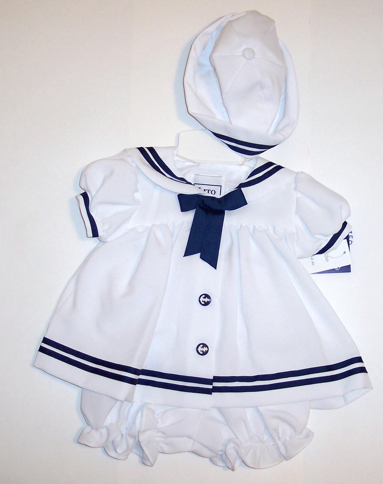 LITO Girls White Sailors Dress (3 PC) 3-6 M