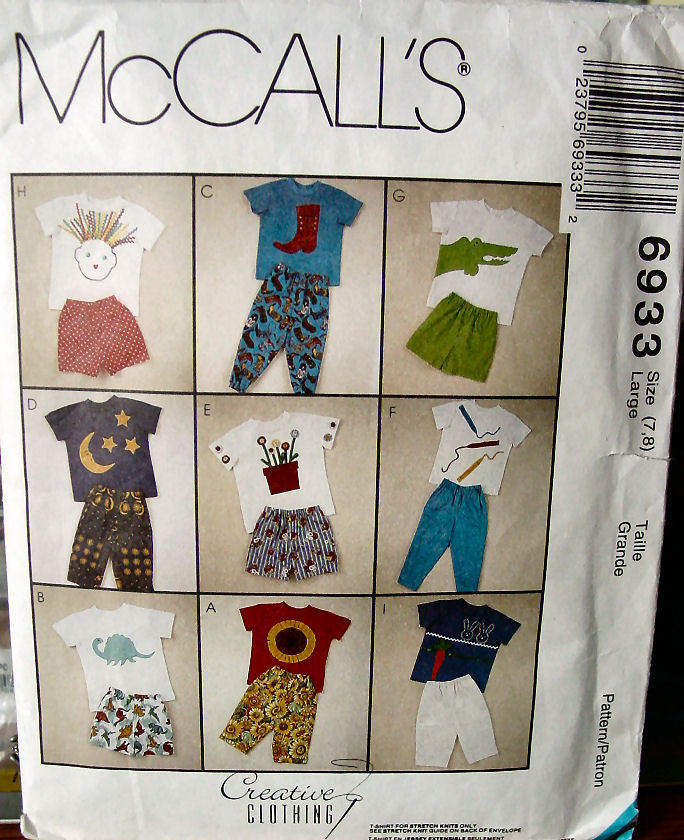 Pattern 6933 Children's T Shirts and Shorts or Pants size 7,8